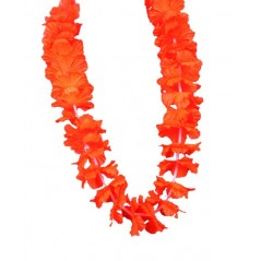 Collier Hawai fleurs tissu Orange Tropical 0,57 €