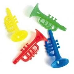 Trompette plastique 8,5cm -couleurs assorties l'unité