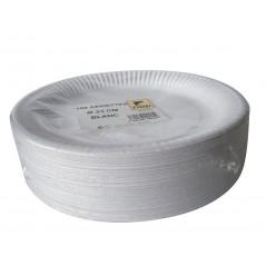 Carton de 500 assiettes en carton blanches de 23 cm
