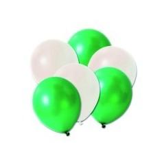 20 ballons blancs et vert diam 30 cm