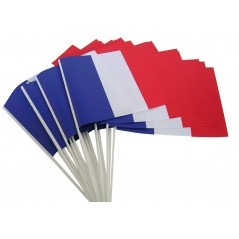 Drapeau tricolore Tissu 21 x 14 cm cm le cent France / Supporters 20,00 €