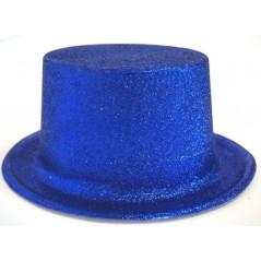 Haut de forme pailleté bleu