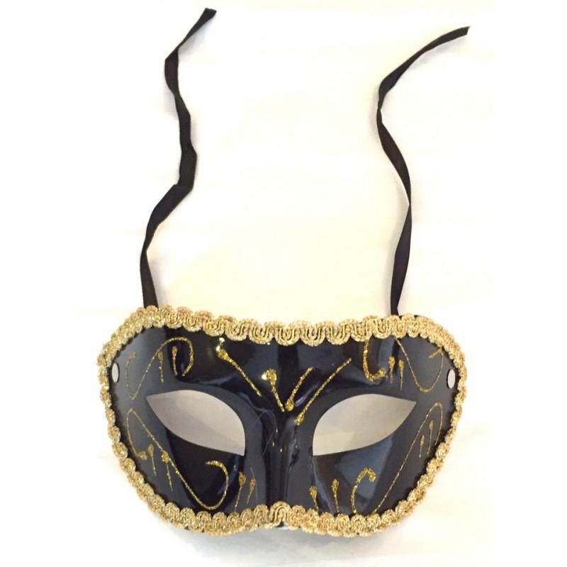 Loup plastique venise noir avec liseré et élastique pour toutes vos soirées de fin d'année ou de carnaval