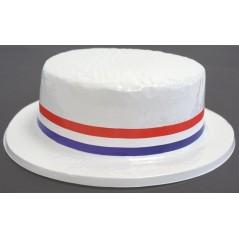 Chapeau français en PVC (canotier) Elégant chapeau France en PVC, Blanc avec ruban tricolore