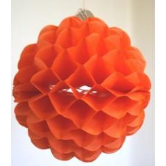 boule festonnée orange diam 20 cm