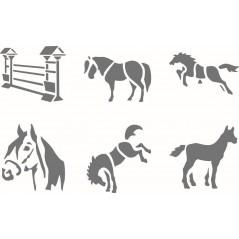 """Pochoir scolaires """"chevaux"""" pochette de 6 motifs"""