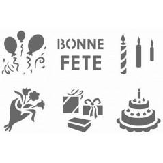 """Pochoir scolaires""""La Fête"""" pochette de 6 motifs"""