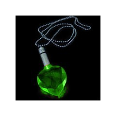 Collier power light coeur -vert