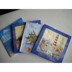 Paquet 20 serviettes papier assortis par thème MER