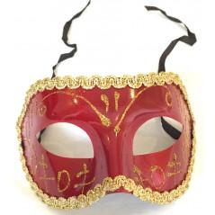 Loup plastique venise rouge avec liseré et élastique pour toutes vos soirées de fin d'année ou de carnaval