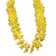 Collier Hawai fleurs tissu jaune Tropical 0,63 €