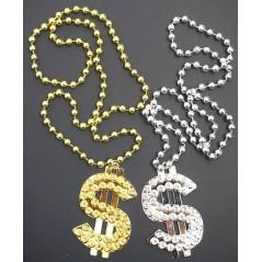 Collier Dollar Doré ou argenté 50 cm modèle