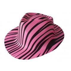 chapeau zébré rose