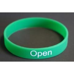 """Bracelet """"Open"""" soirée Célibataire, des bracelets vert, orange , rouge pour savoir avec on va."""