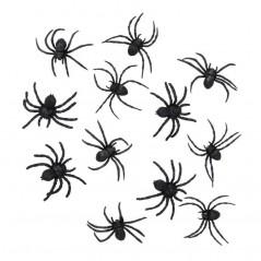 Sachet 12 araignées 4 à 6 cm Halloween 1,60 €