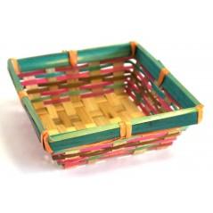 Corbeille carrée vert et rouge (petit modèle)