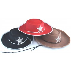 Chapeau cowboy SHERIF 52 cm couleurs assort