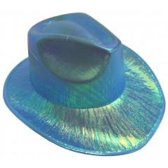 Chapeau irisé bleu