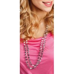 Collier perles plastiques argent lot de 2