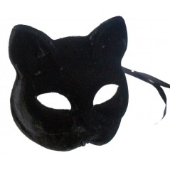 Masque chat noir velours