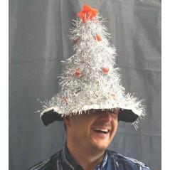 Chapeau sapin de noel argenté avec étoile