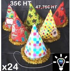 lot de 24 Chapeaux Pointus Lumineux pvc