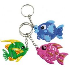 12 Porte clés poissons tropicaux 4cm