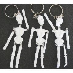 12 Porte clés squelette blanc