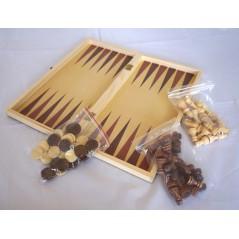 Jeux en bois 3 en 1 (dames échec backgammon)