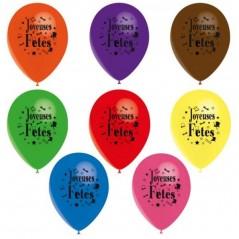 Ballons Joyeuses Fêtes couleurs ass. les 10