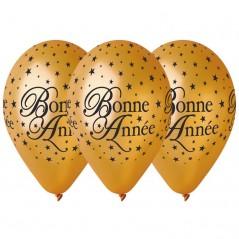"""Ballons""""Bonne Année""""Or 30cm Sachet de 50"""