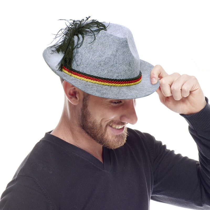 Chapeau Bavarois avec plume gris Chapeaux 3,99 €