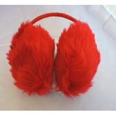 Cache oreille en fourrure rouge